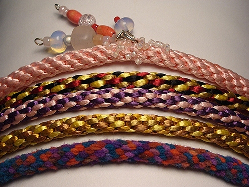 Learn a Japanese braiding technique while making these bracelets in our Kumihimo design class.