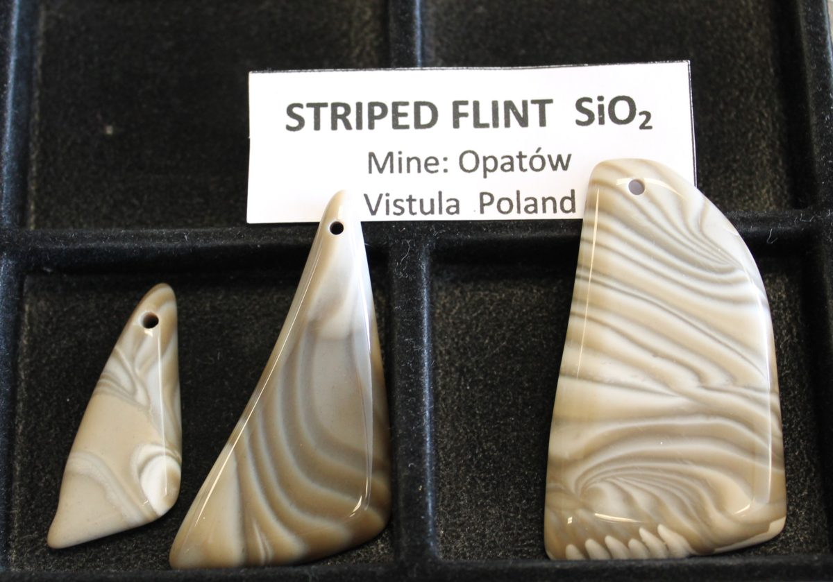 striped flint pendant pieces